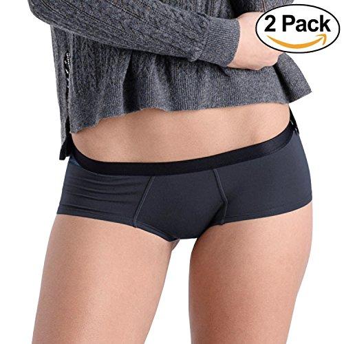 COMFORTABLE CLUB Women's Modal Cheeky Briefs Hipster Panties Underwear 2-Pack (Dark Navy, (Stitch Brief Panty)