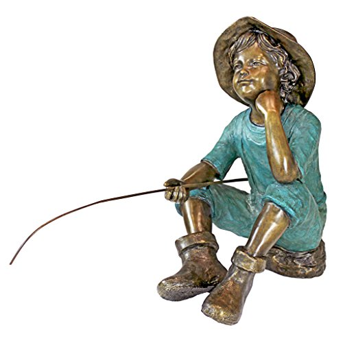 Design Toscano PN6961 Fish Wish Fisherboy Garden Statue, 29 Inch, Sepia & -