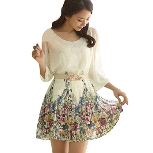Pooqdo(TM) HOT Sell Women's Chiffon Floral 3/4 Sleeve Summer Beach Dress (XXL)