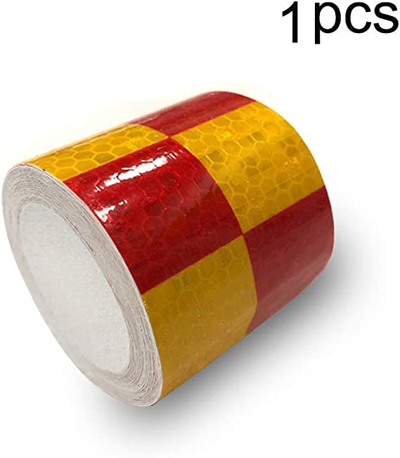Reflective Hazard Tape Checkered Shape Caution Warning Tape Black Red Square Types 2/″/×16.4/′1 PCS