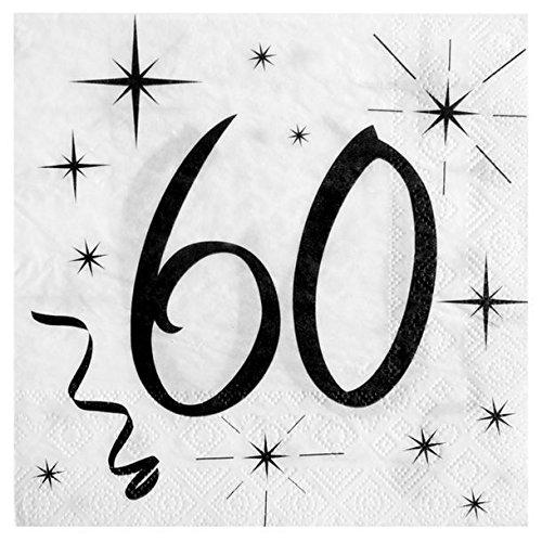 Chal - 20 servilletas 60 cumpleaños: Amazon.es: Hogar
