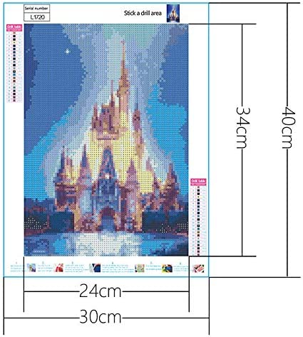 12X16Inch Crystal Rhinestone Full Diamond Sticker Painting Ice Castle Embroidery Picture DIY Rhinestone Art Craft Canvas for Home D/écor DIY 5D Diamond Painting