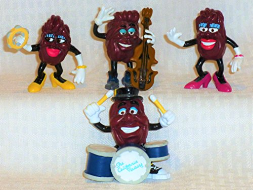 - Vintage 1988 Ultra Rare California Raisins Complete THE BAND Set of 4-BASS PLAYER,YELLOW SHOES FEMALE with TAMBORINE,DRUMMER, PINK SHOES FEMALE-CMV $70-NEW in Factory Sealed Package