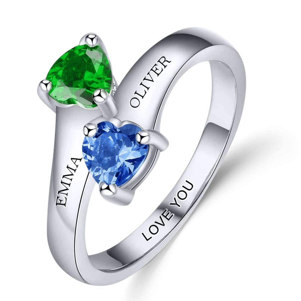 Personalized Mothers ring 2 birthstones Sterling Silver custom engraved fine jewelry for women promise ring for her name ring (sterling-silver, 9)