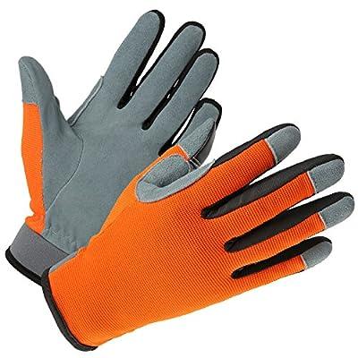 OZERO Womens Garden Work Gloves Deerskin Leather Gardening Glove Gray/Orange/Yellow