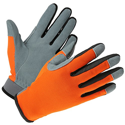 OZERO Cycling Gloves, Deerskin Snug-fit Leather Glove with Touch Screen Fingertips - Sweat-absorbent & Light-Weight for Caring Pets/Yard/Automotive Work/Sports - Fit for Women & Men (OrangeRed,M)