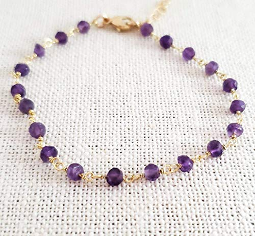 - Amethyst Bracelet - Gemstone Jewelry - Wire Wrapped Rosary Chain - 14k Gold Filled - Gift for Her