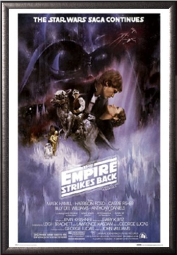FRAMED Star Wars: The Empire Strikes Back - The Saga Continues Movie 24x36 Poster in Real Wood Premium Silver Mist Finish Crafted in USA