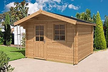 Alpholz Blockhaus CLARA 44 ISO   Gartenhaus Mit Satteldach   Garten Holzhaus  Mit Boden U0026
