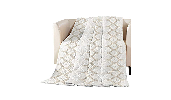 T/&H XHome Luxury Quilted Comforter Bedspread-Thin Soft Cozy,Blue-Grey Stripes Anchors Reversible Stitched Summer Lightweight Quilt Coverlet for All Season Oversized California King Size