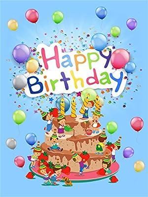 aaloolaa 5 x 7ft vinilo photography Fondo Fotográfico Fondos para tarta de cumpleaños Cartoon Little muñecas colorido globos fresa niños recién nacido niños ...