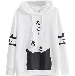 LONUPAZZ T-Shirt Femme Casual Manche Longue Chat Minou Imprimé Poche Mince  Sweat à Capuche d61f2041f79