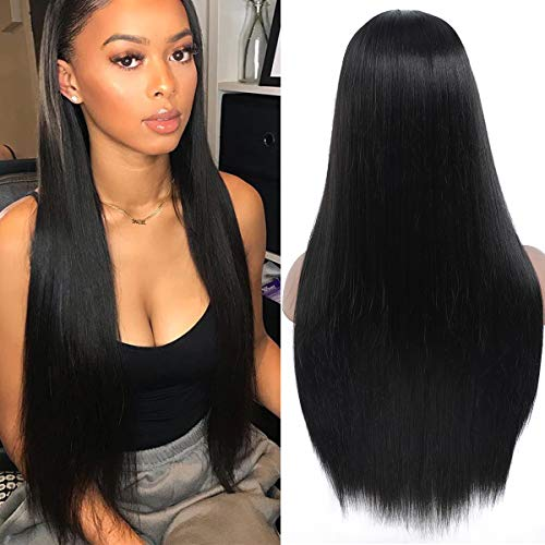 PALAK Long Natural Straight Middle Part Wigs for Women Black Color Heat Resistant Realistic Synthetic Full Wig for Daily Party Use 26 Inch