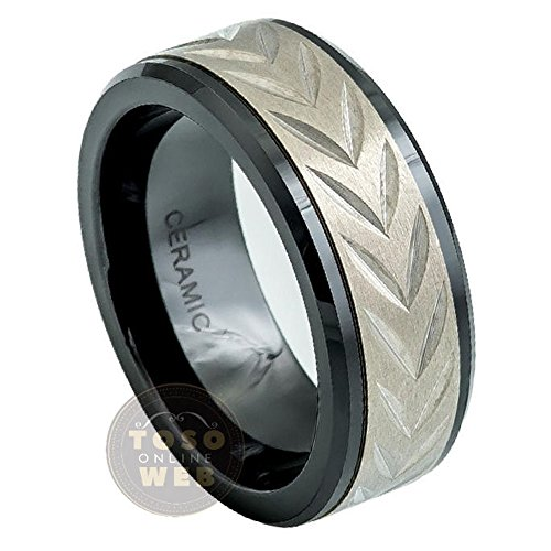 Men's 8mm Low Beveled Edge Black Ceramic Ring w/ Titanium Carved Arrow Head Design Inlay Center, Comfort Fit Wedding - Arrowhead Center Womens