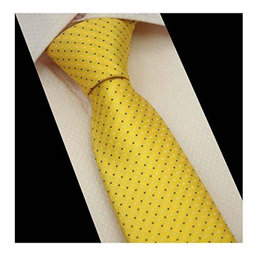 Men Yellow Gold Pin Dot Woven Silk Tie Formal Fashion Thanksgiving Dress Necktie (Formal Pin Dot)