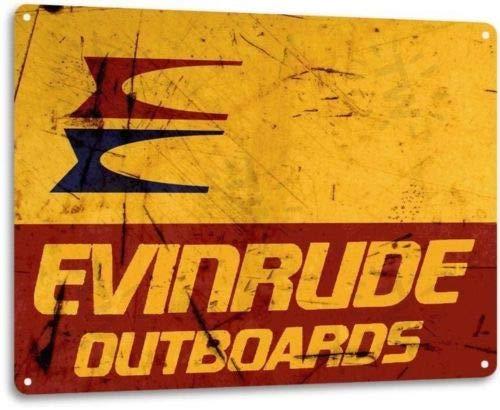 ShopForAllYou vintage decor wall signs Evinrude Outboard Motors Retro Boat Marina Shop Garage Wall Decor Metal Tin Sign