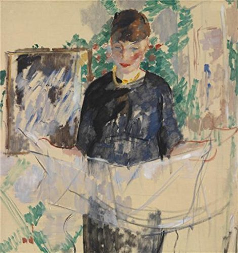 Oil Painting 'Rik Wouters - Woman In Black Reading The Newspaper, 1912', 16 x 17 inch / 41 x 43 cm , on High Definition HD canvas prints is for Gifts And Kids Room, Kitchen And Study Room Decoration