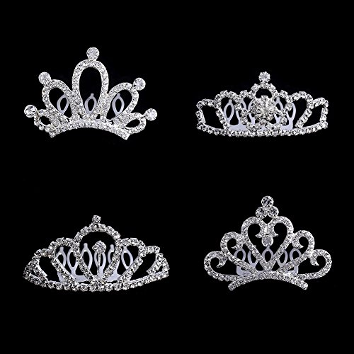 (Bingcute 12Pcs Girl Princess Rhinestone Tiara Crown with Comb for Princess Party Favors,Tiaras and Crowns for Little Girls)