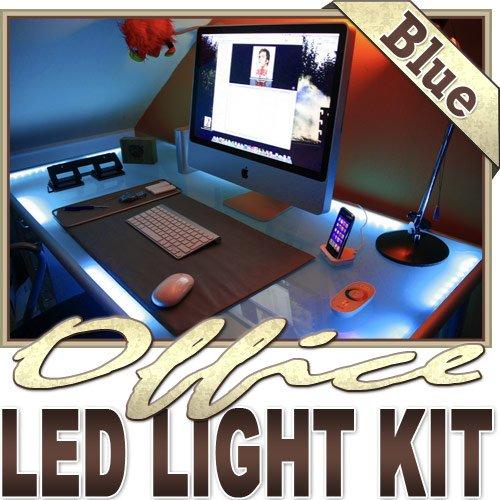 Biltek 16.4' ft Blue Home Office Desk Computer Remote Controlled LED Strip Lighting SMD3528 Wall Plug - Under Desk Hutch Drawer Bookshelf Reading Glass Case Waterproof 3528 SMD Flexible 110V-220V