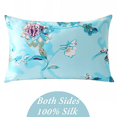 ZIMASILK 100% Mulberry Silk Pillowcase for Hair and Skin Health, Both Side Silk,Floral Print, 1p ...