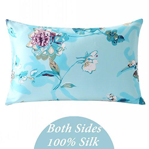 ZIMASILK 100% Mulberry Silk Pillowcase for Hair and Skin Health, Both Side Silk,Floral Print, 1p ...