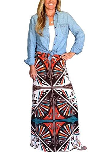 Yinggeli Women's Bohemian Print Long Maxi Skirt (Medium, ()