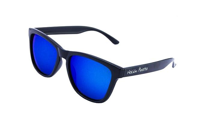 Nación Pirata - Gafas de Sol Policarbonato- Polarizadas, Efecto Espejo azul - Hombre y