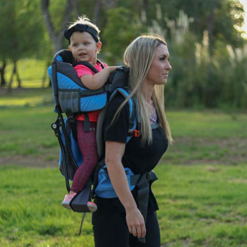 Clevr Cross Country Baby Backpack Hiking Carrier with Stand and Sun Shade Visor Child Kid Toddler, Blue