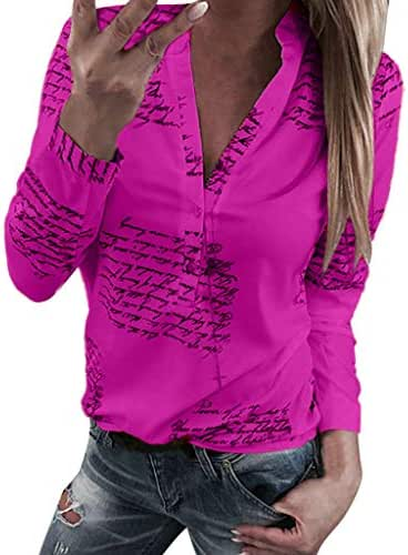 NOMUSING Blouse Plus Size Women V Neck Letters Printing Button Long Sleeve T-Shirt Tops Blouse Fashion Casual Outerwear