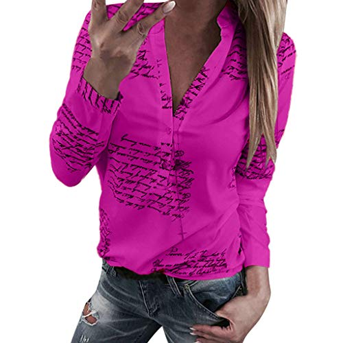 (TWGONE Button Down Shirts for Women Plus Size V Neck Letters Printing Long Sleeve T-Shirt Tops (Medium,Hot Pink))