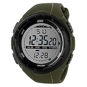 Yesurprise Reloj de Hombre Digital Deportivo Impermeable Buceo Natación Color Verde Militar