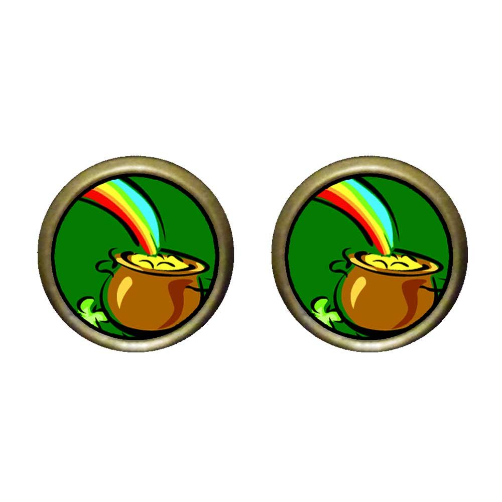 GiftJewelryShop Bronze Retro Style Pot Of Gold Photo Stud Earrings 12mm Diameter