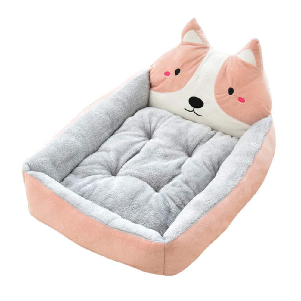 BOOB Cute Pet Winter Dog Bed Sofa Soft Warm Cat Bed House Cartoon Small Dog Bed Cushion Pet Sofa Bed for Dog Chihuahua Teddy Pink Dog L by BOOB