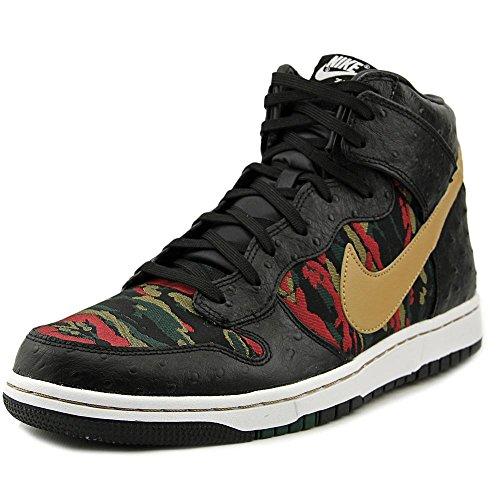 Nike Men's Dunk CMFT Prm Qs Black/Flt Gold Hypr Rd Grg Grn Basketball Shoe 8 Men US by NIKE