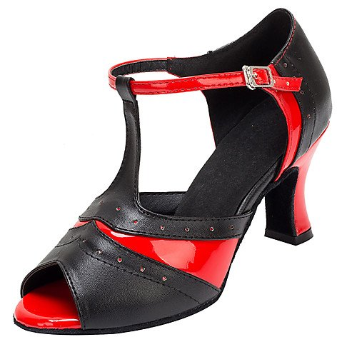 T.T-Q Frauen Ballsaal Tanzschuhe Kunstleder Heels Ferse Professionelle Schwarz Rot Latin Sandalen Salsa Jazz Tango Swing Praxis Innen Performance  42|Schwarz Rot