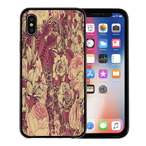 - Emvency Phone Case for Apple iPhone Xs Case/iPhone X Case,Berry Summer Floral Vintage Flowers Claret and Dark Pink Soft Rubber Border Decorative, Black