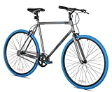 Takara Sugiyama Flat Bar Fixie Bike, 700c, Gray/Blue, Large/58cm Frame