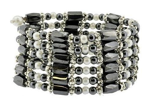 Women's Faux Pearl Magnetic Simulated Hematite Bead Necklace, Hematite Bracelet, Hematite Wrap, Hematite Anklet, - Crystal Wrap Necklace