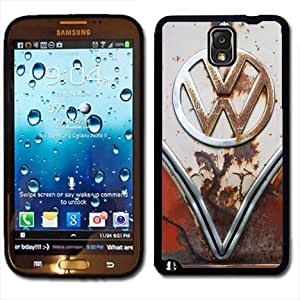Samsung Galaxy Note 3 Black Rubber Silicone Case - VW Bus Rusted Front End bumper grill Old School volkswagen bus Kimberly Kurzendoerfer