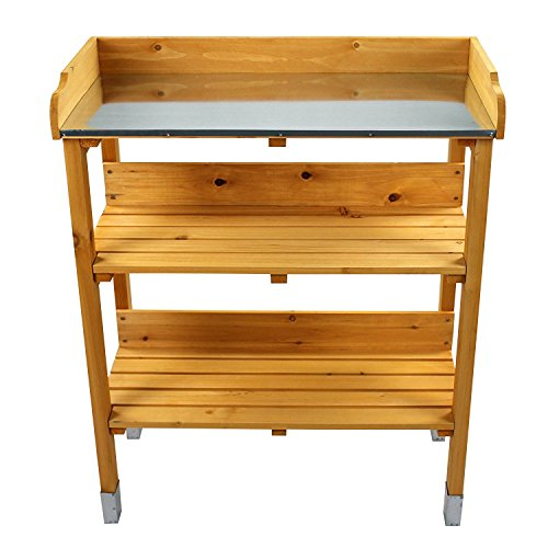 Hoddmimis Outdoor Wooden Garden Potting Bench PLG-WPL01, Nature color
