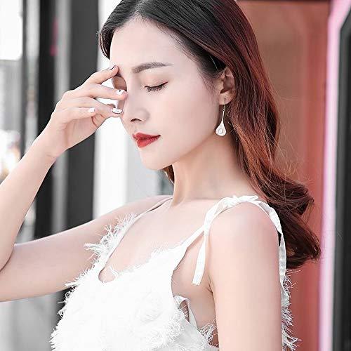 SLL Frauen Einfache 925 Silber Tropfen Sterling Silber Perlen Ohrringe Weibliche Quaste Ohrringe Lange Ohrringe Schmuck Ohrringe, Perle (Tropfenform)
