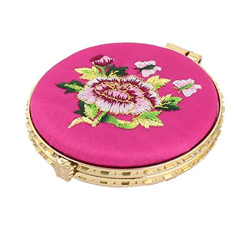 Fuchsia Embroidery - DealMux Woman Household Round Shaped Folding Double Side Embroidery Cosmetic Mirror Fuchsia