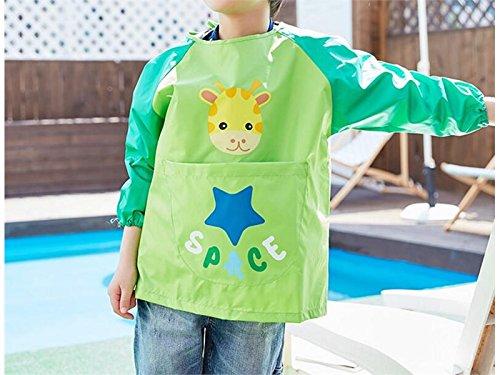 Gelaiken Perfect Cartoon Animal Giraffe Printed Apron Child Pocket (Green,Size:M)