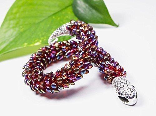 [Awsome Gift for Her - handmade red burgundy japanese snake bracelet, seed bead magatama for women] (Custom Snake Eyes Costumes)