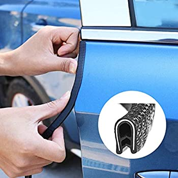 Car Door Edge Guards Trim Rubber Seal Protector Guard Strip Car Protection Black Protected Lining Kaptin 16Ft Fits Most Cars 5M