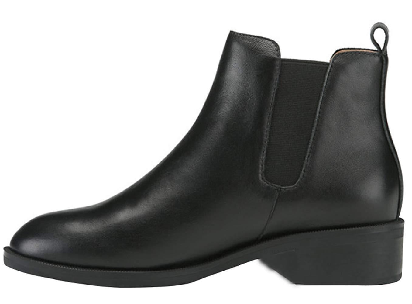 HhGold Damen Rundkopf Flat Flat Flat Mit Martin Stiefel Classic schwarz Fashion Leder Stiefeletten (Farbe   Schwarz 2, Größe   36EU) 8cd3c7