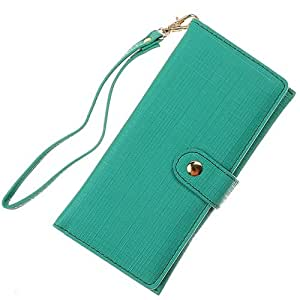 Green Linen Gray Inside Pouch Wallet Case Cover For Samsung Galaxy S 4 S4 with Free Pouch