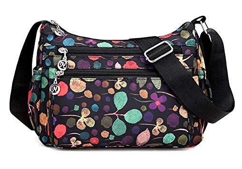 Nawoshow Nylon Floral Multi-Pocket Crossbody Purse Bags for Women Travel Shoulder Bag (T12-Floral Black)