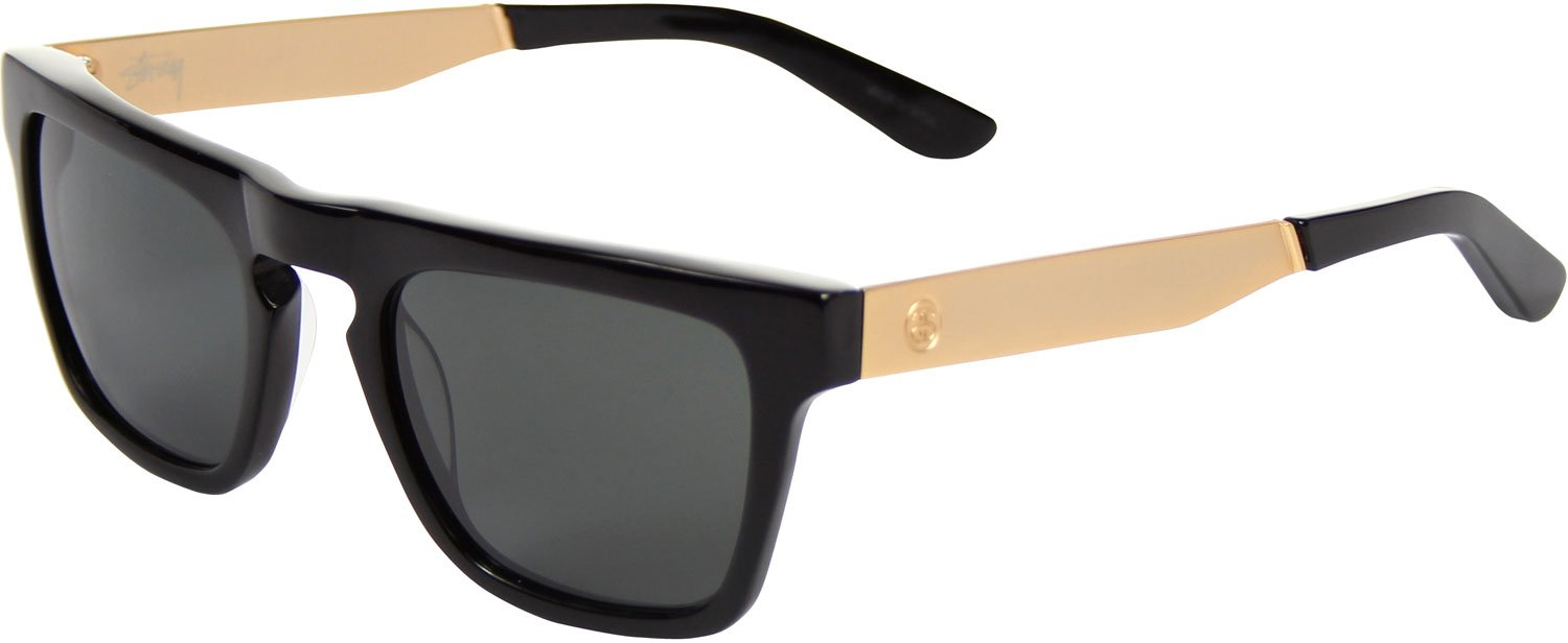 Stussy Louie Sunglasses Black Gold / Dark Gray Mineral Glass by Stussy Eyegear