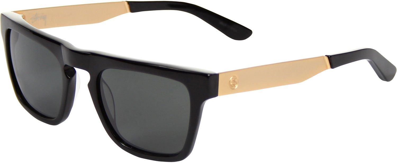 Stussy Louie Sunglasses Black Gold / Dark Gray Mineral Glass